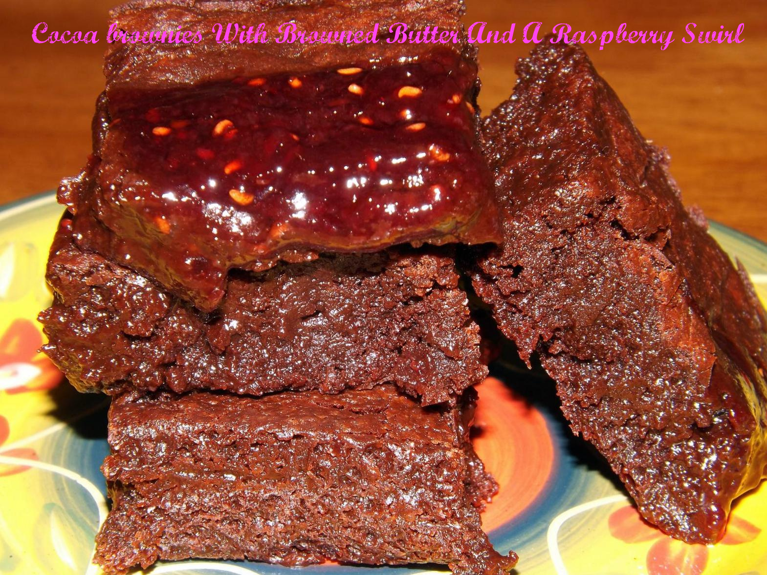 Cocoa Brownies With Browned Butter And A Raspberry Swirl