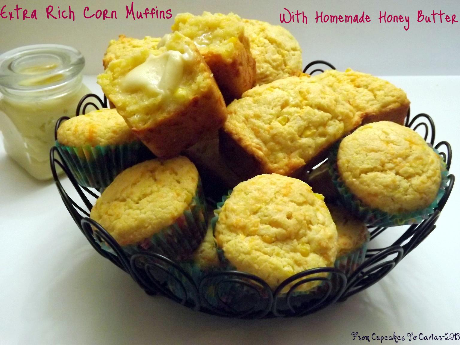 Extra-Rich-Corn-Muffins-With-Homemade-Honey-Butter