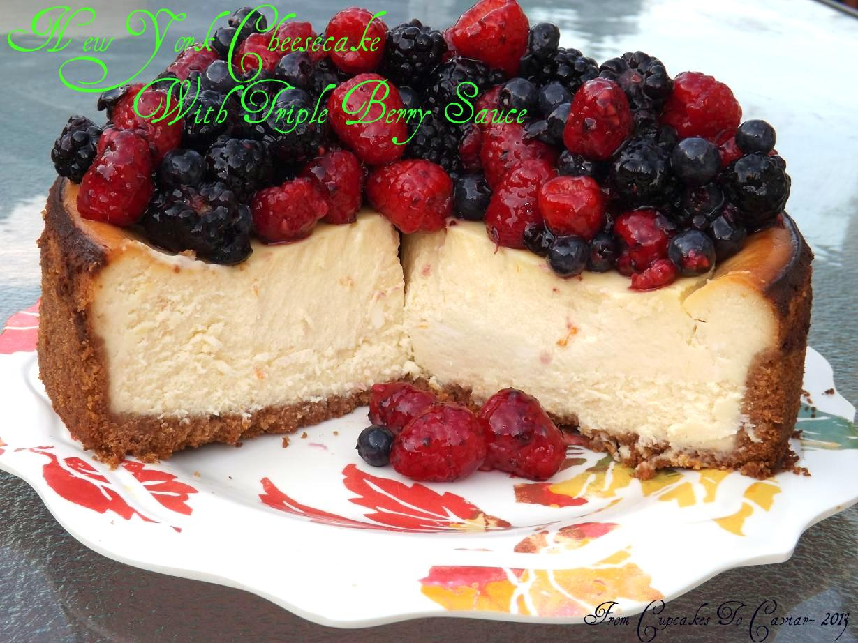New York Cheesecake With Triple Berry Sauce