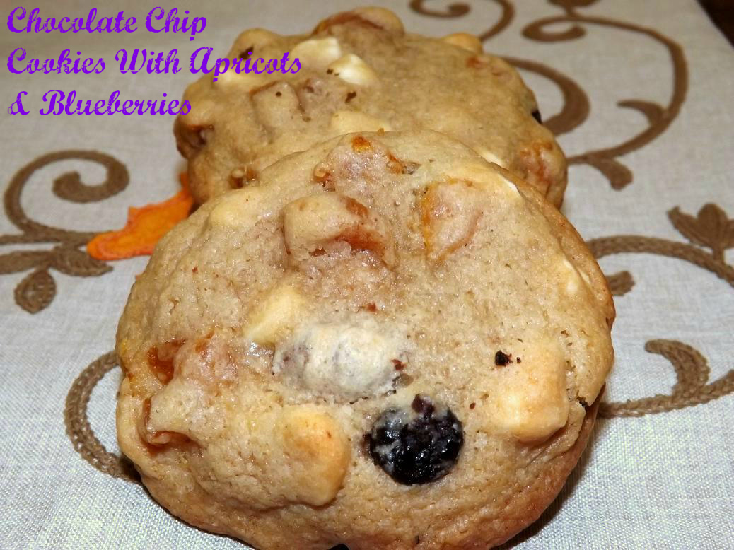 Double Chocolate Chip Cookies With Apricots & Blueberries