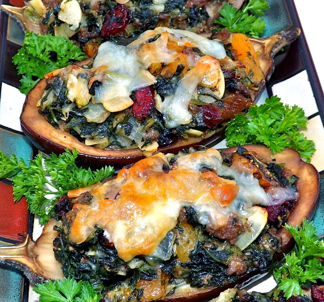 Baby Eggplant Stuffed With Lamb, Fruit & Montasio Cheese
