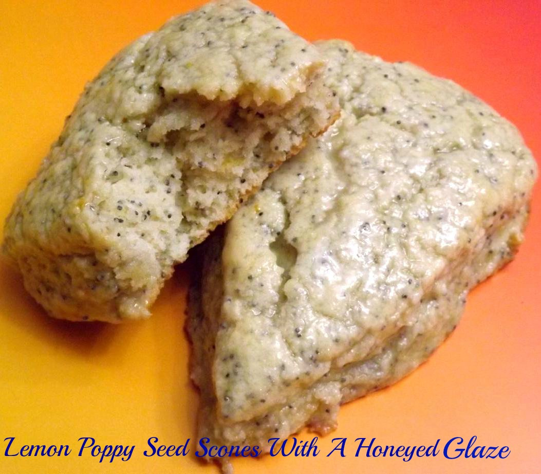 Lemon Poppy Seed Scones With A Honeyed Glaze