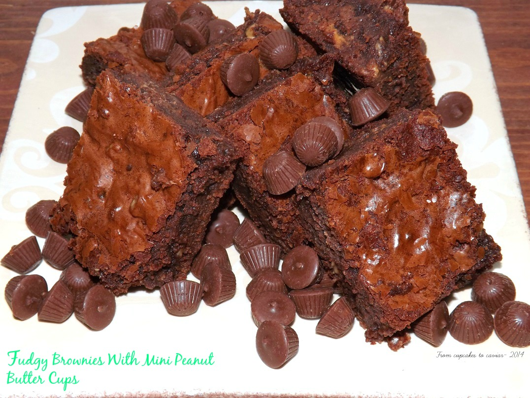 Fudgy Brownies With Mini Peanut Butter Cups