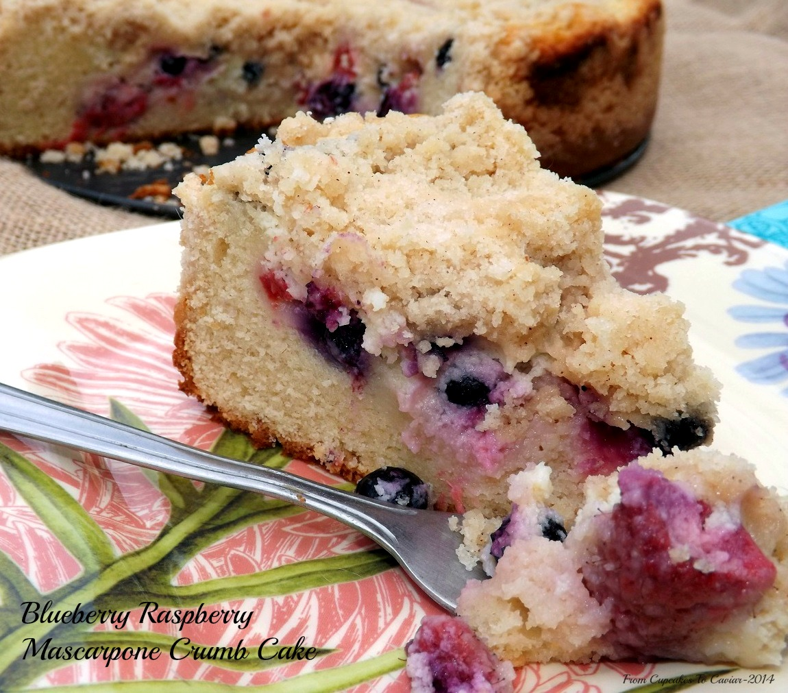 Blueberry Raspberry Mascarpone Crumb Cake