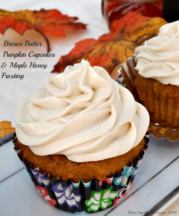 Brown Butter Pumpkin Cupcakes & Maple Honey Frosting