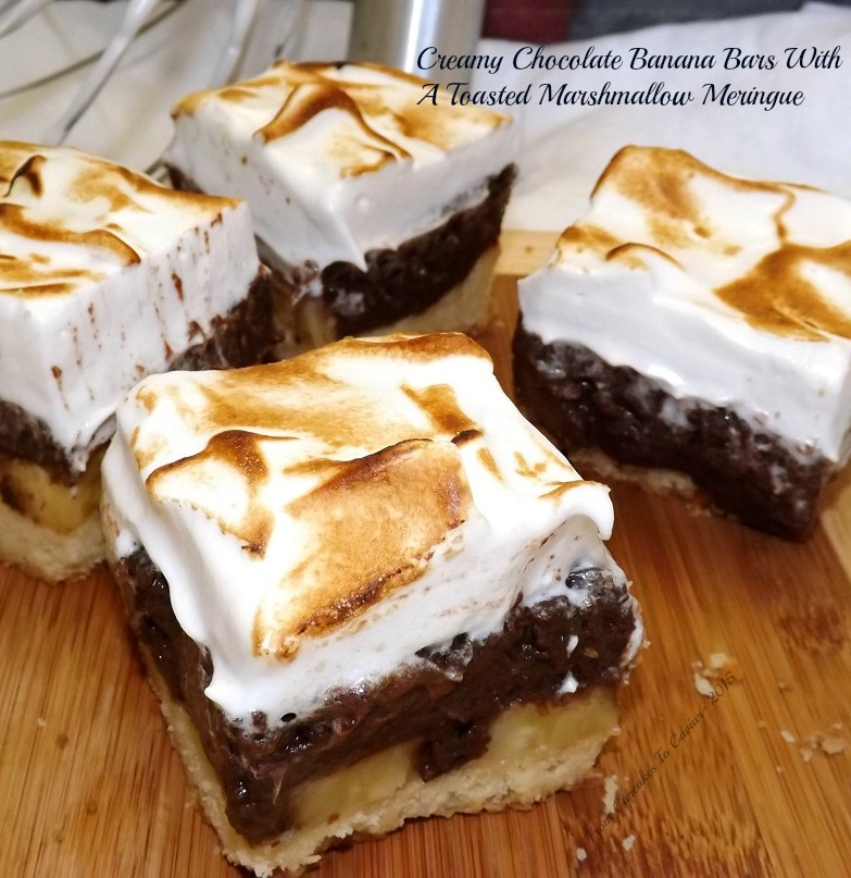 Creamy Chocolate Banana Bars With A Toasted Marshmallow Meringue