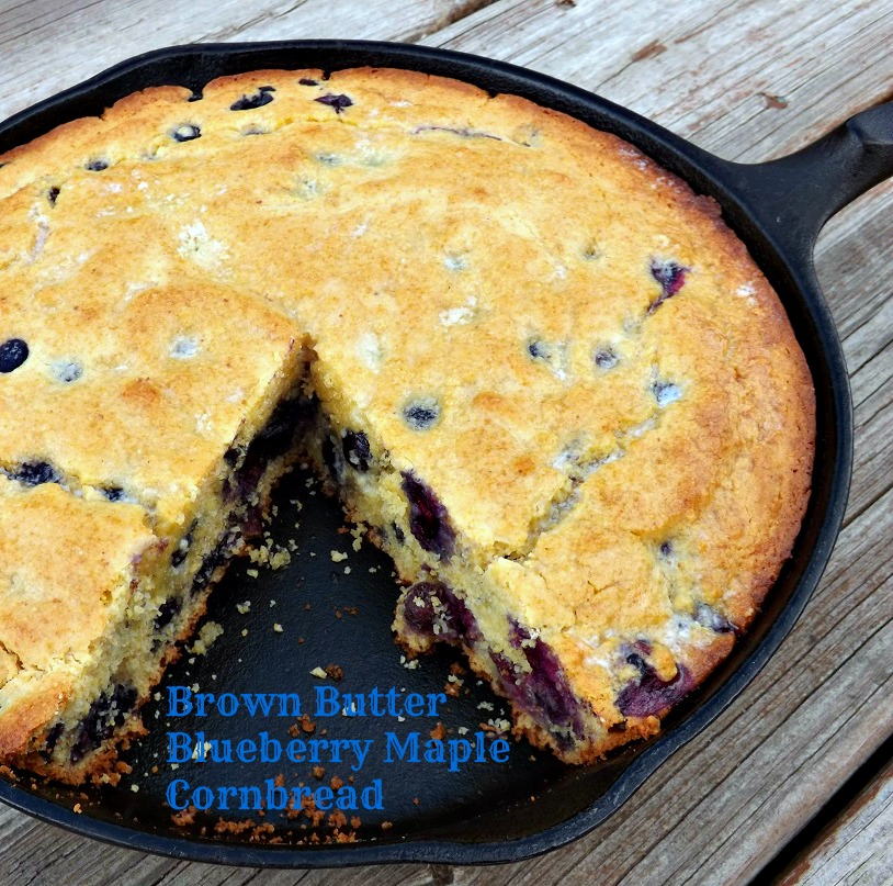 Brown Butter Blueberry Maple Cornbread