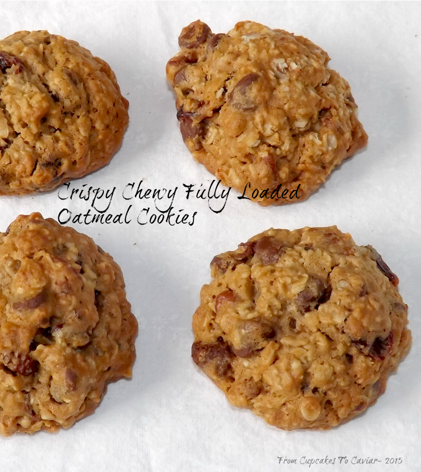 Crispy Chewy Fully Loaded Oatmeal Cookies