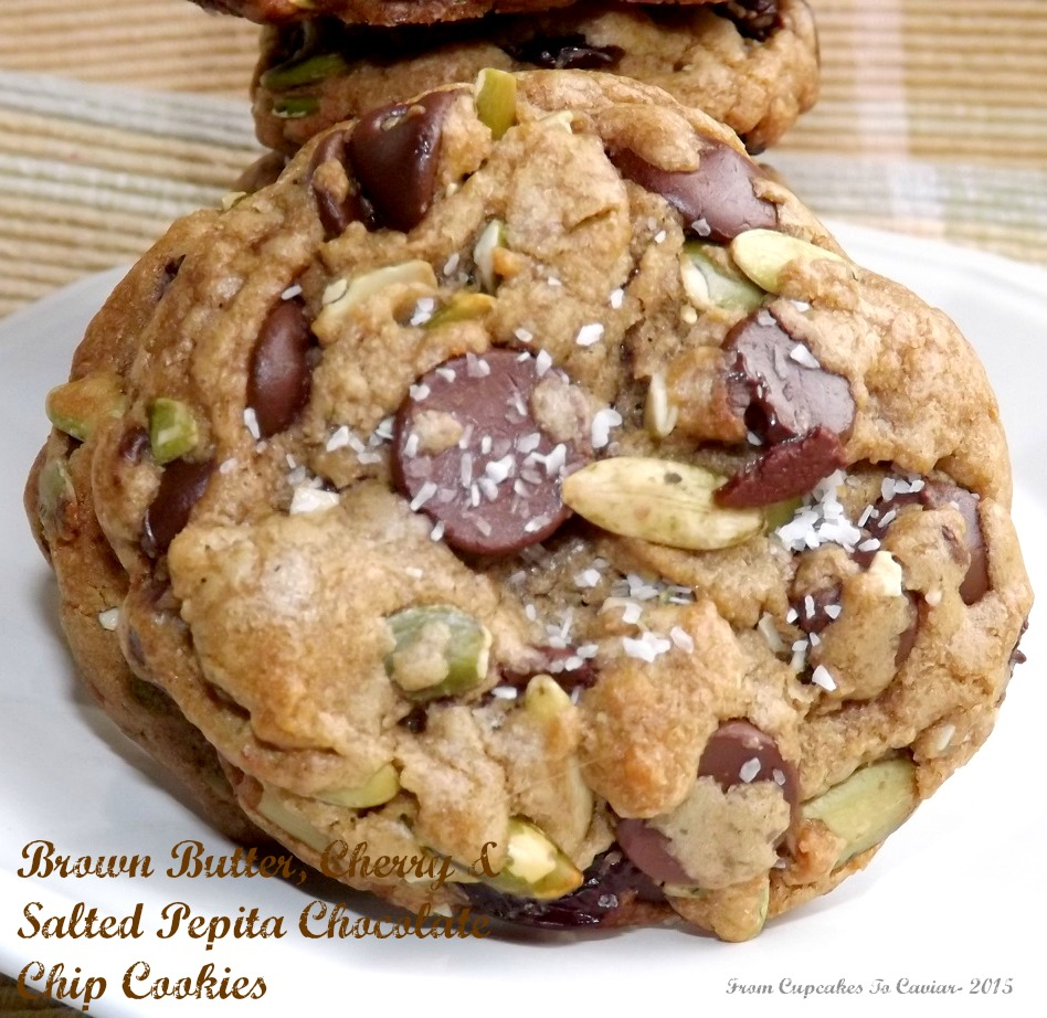 Brown Butter, Cherry & Salted Pepita Chocolate Chip Cookies