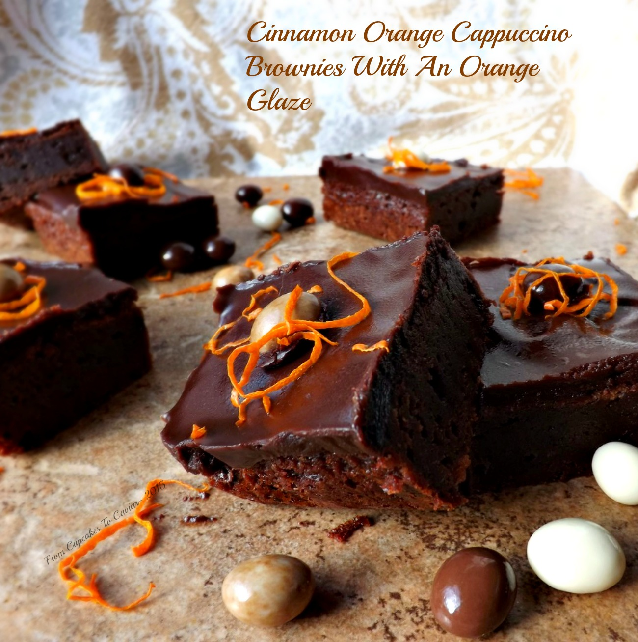 Cinnamon Orange Cappuccino Brownies With An Orange Glaze