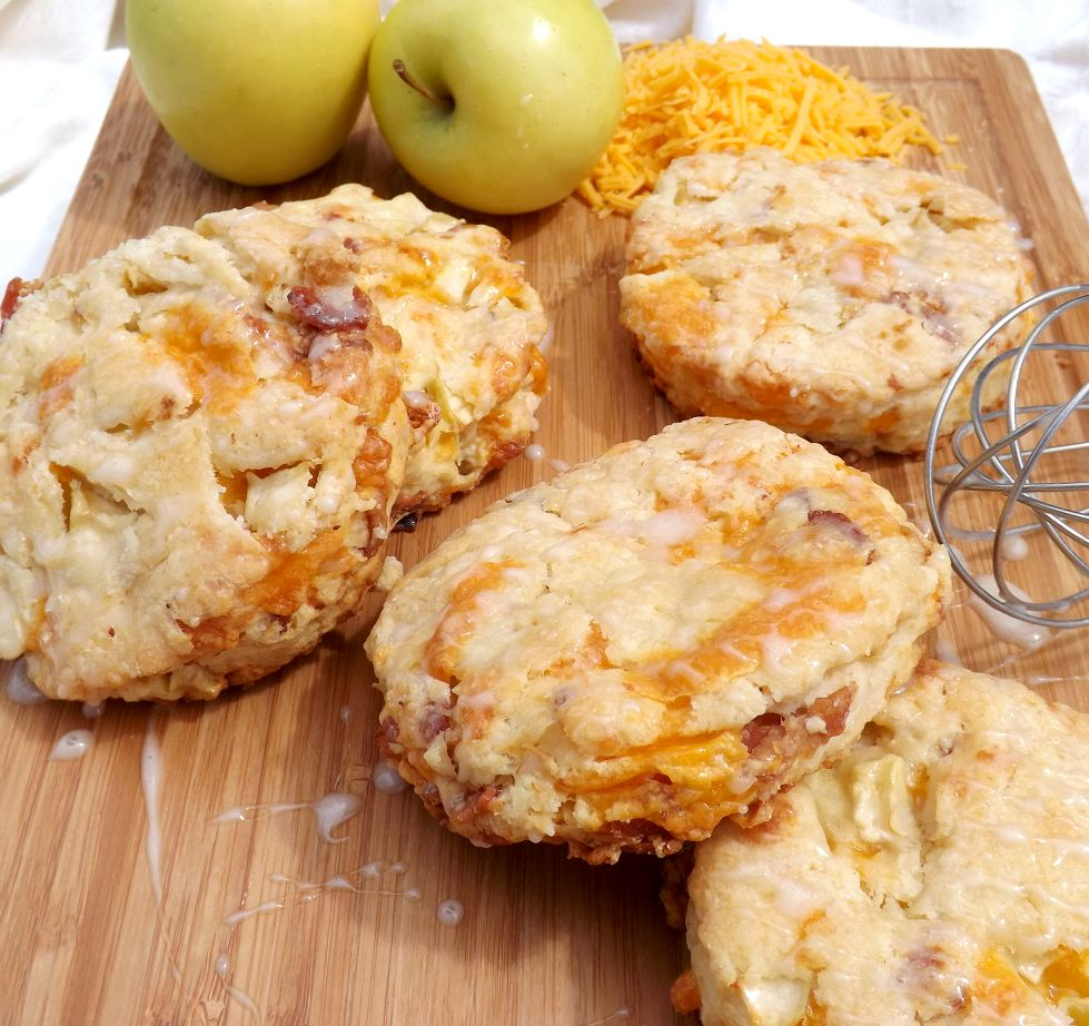 Bacon, Cheddar & Apple Scones With A Maple Drizzle