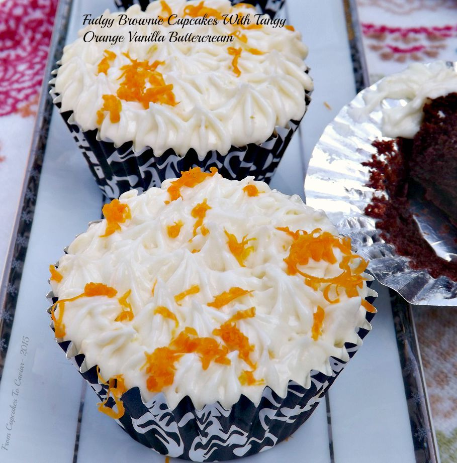 Fudgy Brownie Cupcakes With Tangy Orange Vanilla Buttercream 1