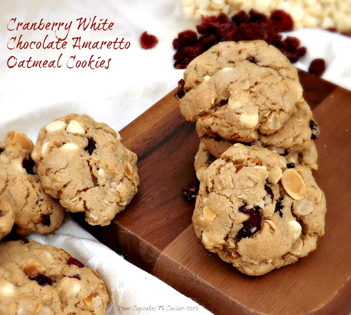Cranberry White Chocolate Amaretto Oatmeal Cookies