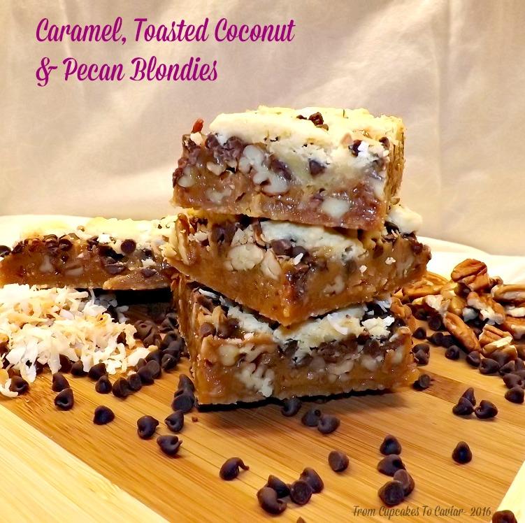 Caramel, Toasted Coconut & Pecan Blondies