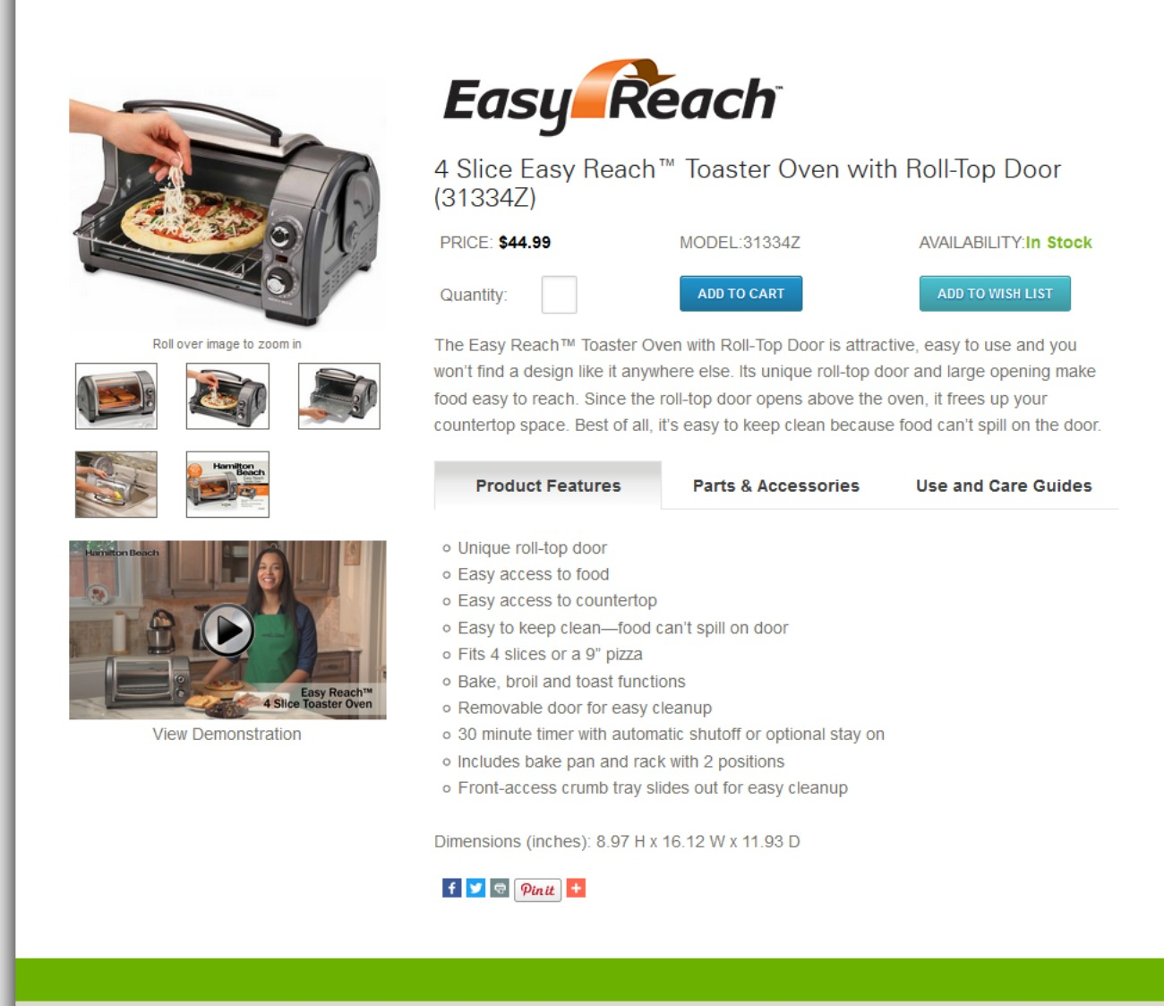 4 Slice Easy Reach™ Toaster Oven with Roll-Top Door