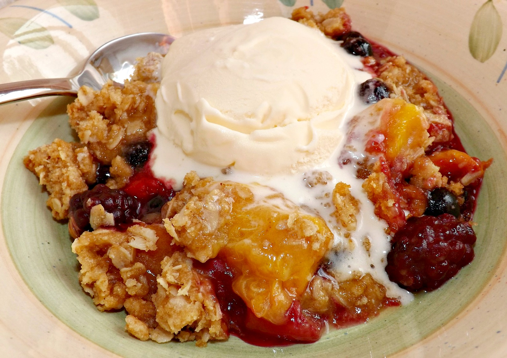 Nectarine And Three Berry Crisp 1