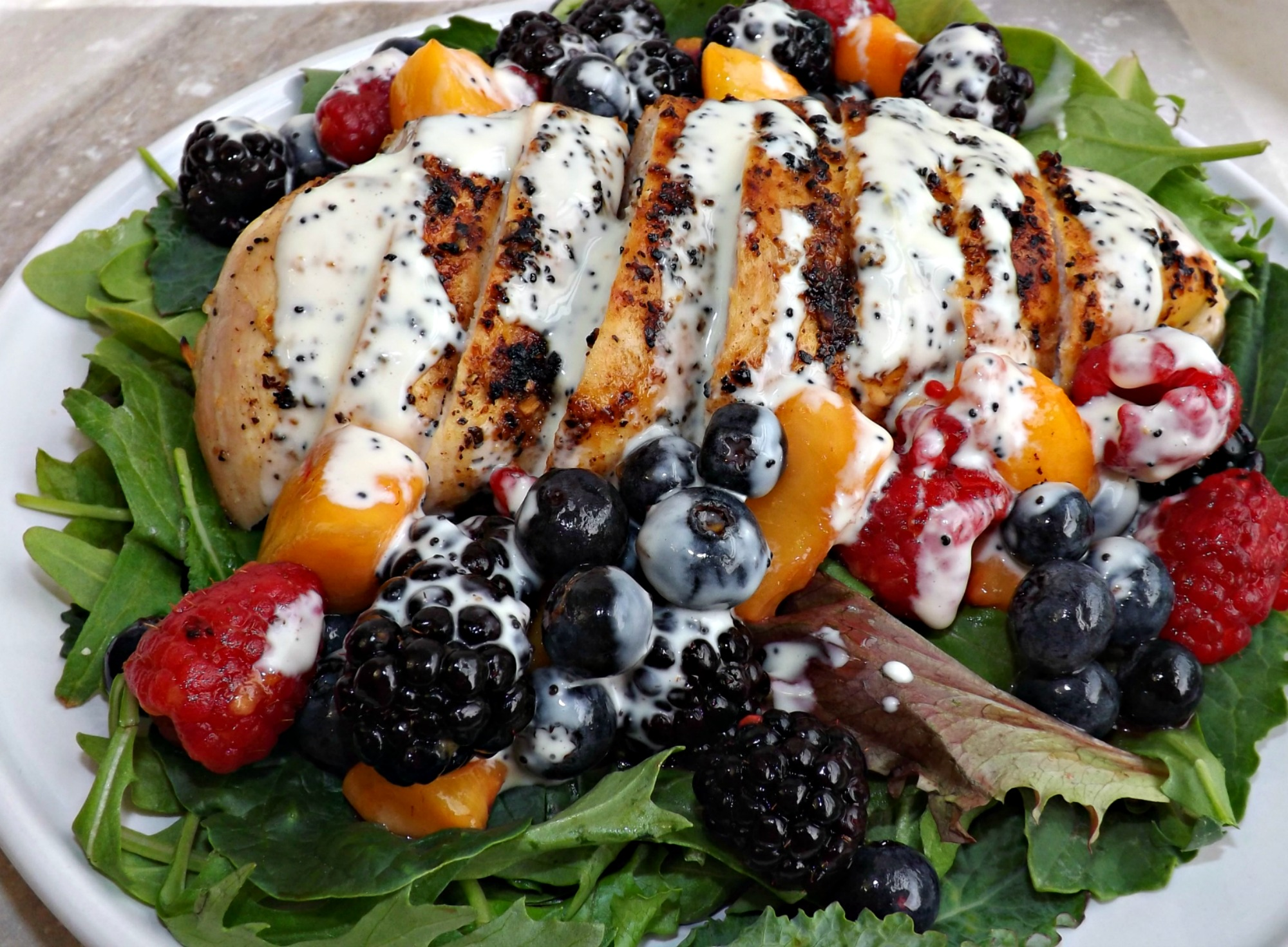 Red, White & Blue Grilled Chicken Salad With Lemon Poppyseed Dressing