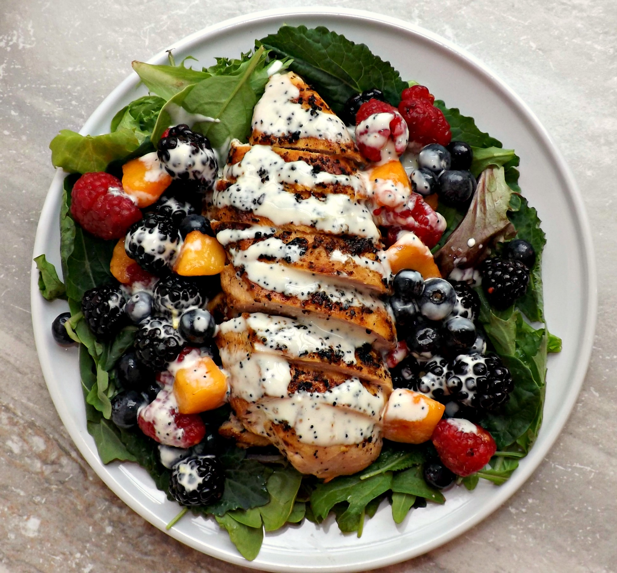 Red, White & Blue Grilled Chicken Salad With Lemon Poppyseed Dressing 5